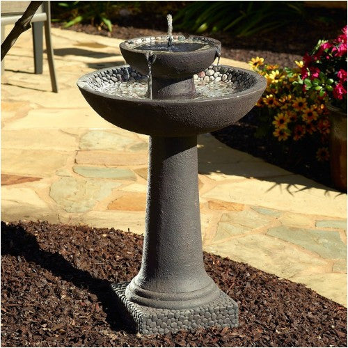 Smart Solar Riverstone 2-Tier Solar On Demand Bird Bath Fountain