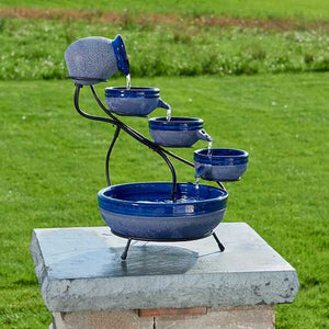Smart Solar Ceramic Blueberry Cascade Solar Bird Bath Fountain - WaterCheck.biz  - 1