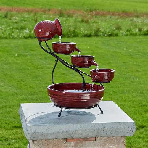 Smart Solar Ceramic Red Lava Cascade Solar Bird Bath Fountain - WaterCheck.biz  - 1
