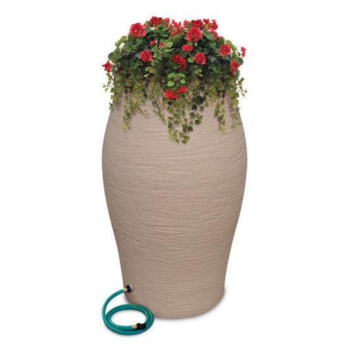 Rescue 85 Gallon Rain Barrel Stoneware Urn Rainwater Harvesting Collection System - Sand - WaterCheck.biz