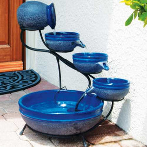 Smart Solar Ceramic Blueberry Cascade Solar Bird Bath Fountain - WaterCheck.biz  - 2