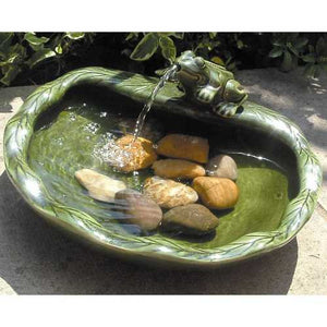 Smart Solar Ceramic Frog Solar Bird Bath Fountain - WaterCheck.biz  - 2