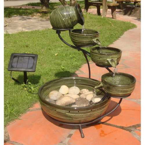 Smart Solar Ceramic Green Bamboo Cascade Solar Bird Bath Fountain - WaterCheck.biz