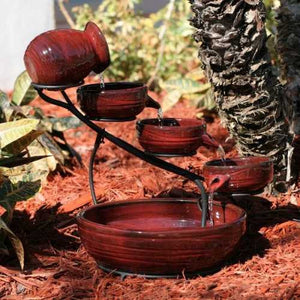 Smart Solar Ceramic Red Lava Cascade Solar Bird Bath Fountain - WaterCheck.biz  - 2