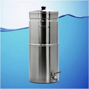 Propur Traveler Plus Brushed Stainless Gravity Fed Fluoride Water Filter Purifier With (1) 5 Inch ProOne G2.0 Filter