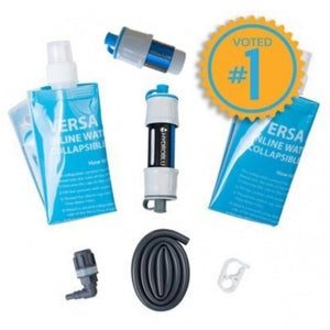 HydroBlu Versa Flow Ultralight Camping Water Filter + Carbon Filter Package