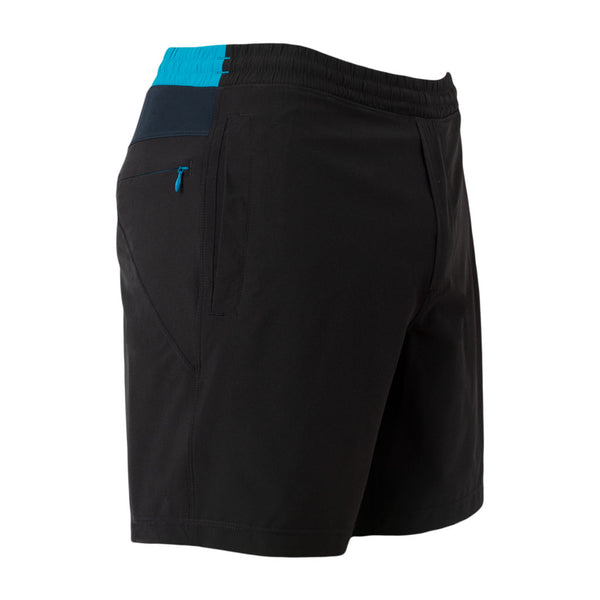 Birddogs Black Out Barts Black Navy Light Blue Gym Shorts Navy Liner Front Right Hip