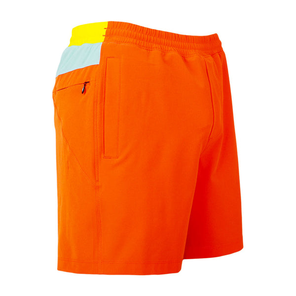 Birddogs The Creamsicles Orange Blue Yellow Gym Shorts Yellow Liner Front Right Hip