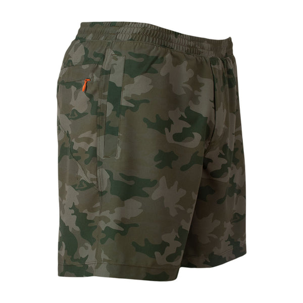 Birddogs Deer Hunters Camo Gym Shorts Orange Liner Front Right Hip