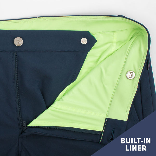 Birddogs Pants Seattle Pounders Navy Khaki Gym Pants Neon Green Liner Button Built-In Liner