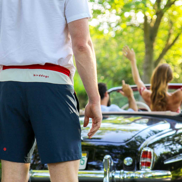 Birddogs Swipe Rights Navy White Red Gym Shorts Red Liner Convertible Dumped