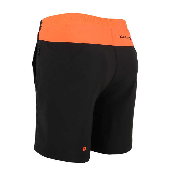 Birddogs Black Angus Black Gym Shorts Orange Liner Back Left Angle