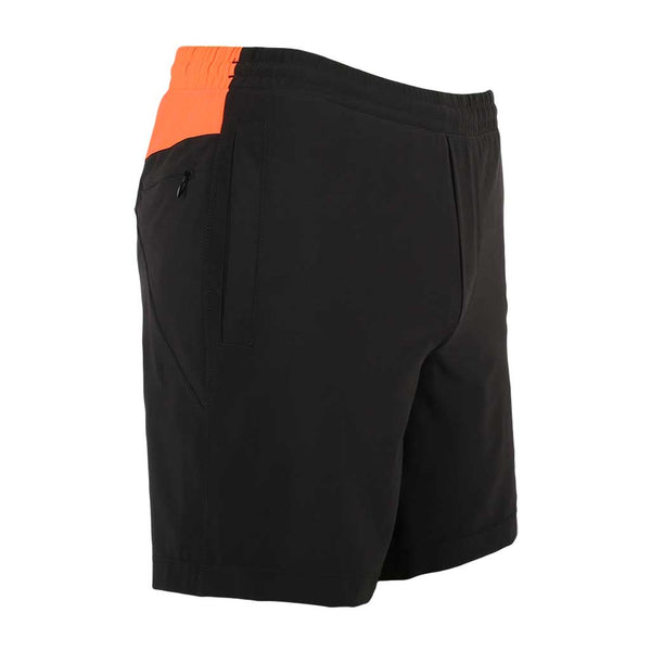 Birddogs Black Angus Black Gym Shorts Orange Liner Front Right Angle