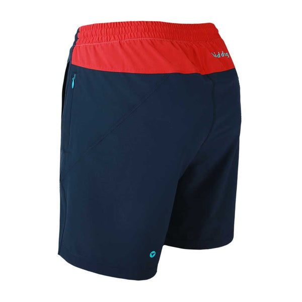 Birddogs Cape Cod Cuddlers Navy Red Gym Shorts Turquoise Liner Back Left Angle Preorder
