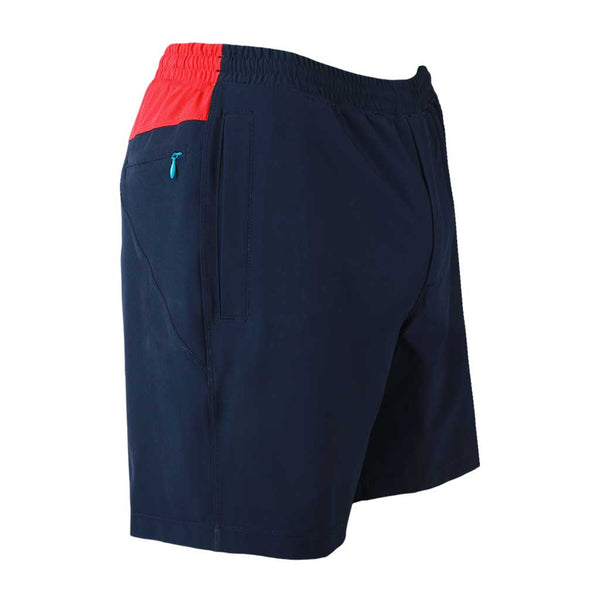 Birddogs Cape Cod Cuddlers Navy Red Gym Shorts Turquoise Liner Front Right Hip Angle Preorder