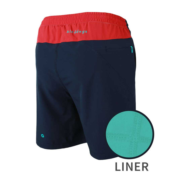 Birddogs Cape Cod Cuddlers Navy Red Gym Shorts Turquoise Liner Main Preorder