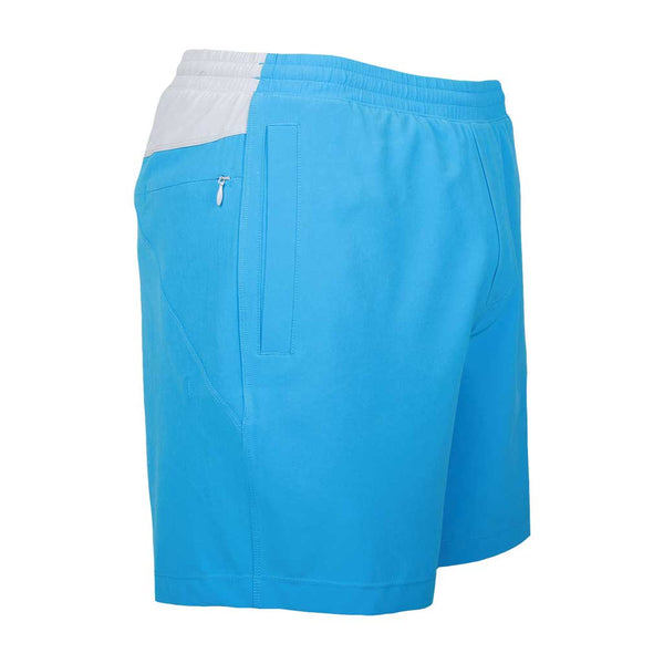 Birddogs Captain Ahabs Blue Gym Shorts Light Gray Liner Front Right Angle