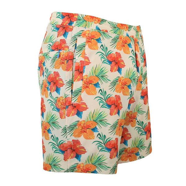 Birddogs Disco Suzies Hawaiian Print Gym Shorts Blue Liner Front Right Angle