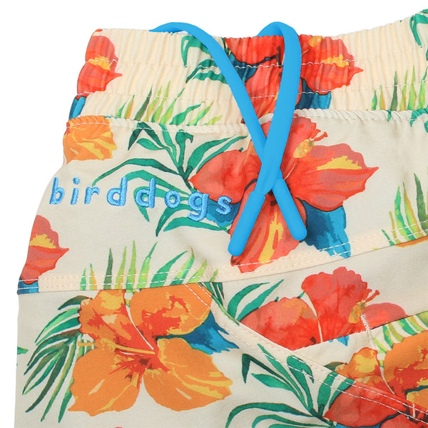 Birddogs Disco Suzies Hawaiian Print Gym Shorts Blue Liner Waistband