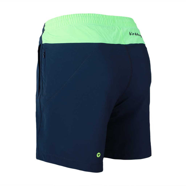 Birddogs English Longhorns Navy Gym Shorts Mint Green Liner Back Left Angle