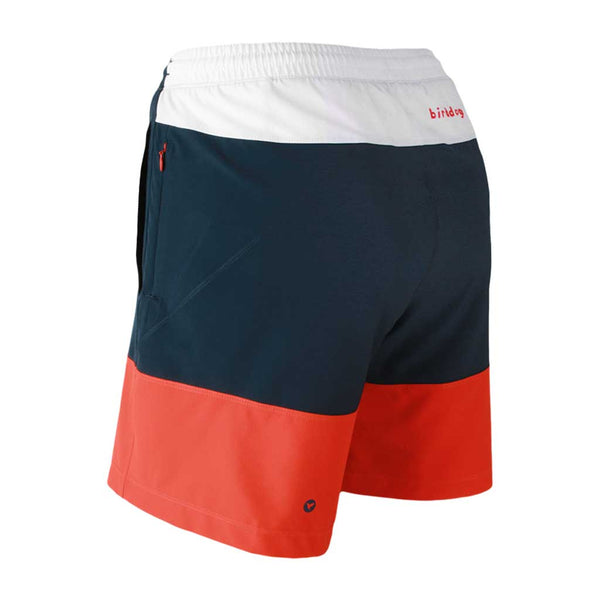 Birddogs Four Score Drawers Red White Blue Gym Shorts Red Liner Back Left Angle