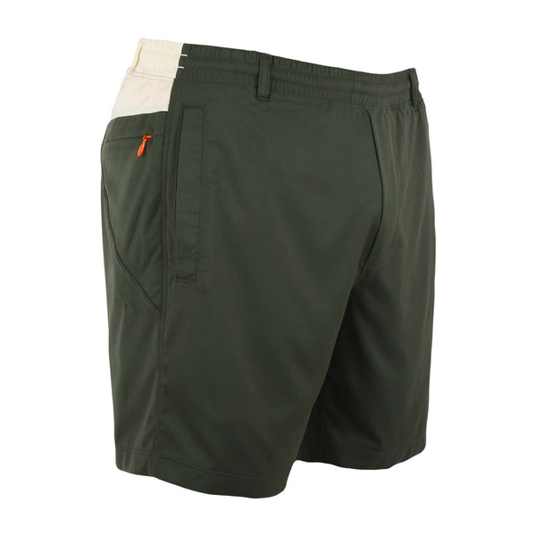 Birddogs Great Indoorsman Khaki Green White Gym Shorts Orange Liner Front Right Angle