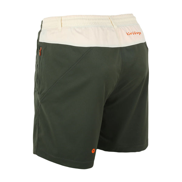 Birddogs Great Indoorsman Khaki Green White Gym Shorts Orange Liner Back Left Angle Preorder