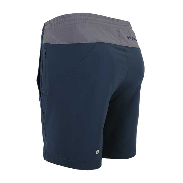 Birddogs Herefords Navy Gray Gym Shorts Navy Liner Back Left Angle