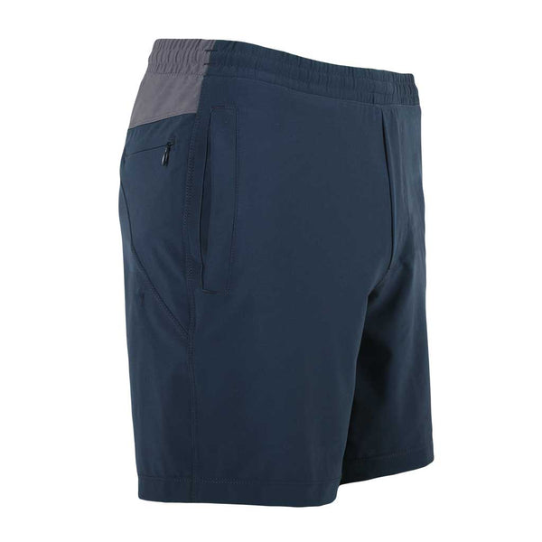 Birddogs Herefords Navy Gray Gym Shorts Navy Liner Front Right Angle