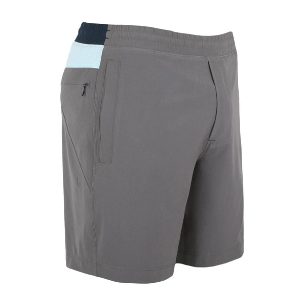 Birddogs The Icemans Grey Light Blue Navy Gym Shorts Navy Liner Front Right Angle