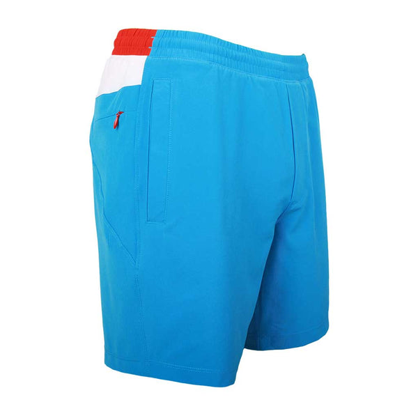 Birddogs Jockey Rockets Blue White Gym Shorts Bright Red Liner Front Right Angle