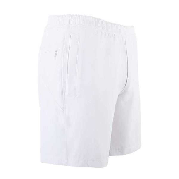 Birddogs La Flama Blanca White Gym Shorts White Liner Front Right Angle
