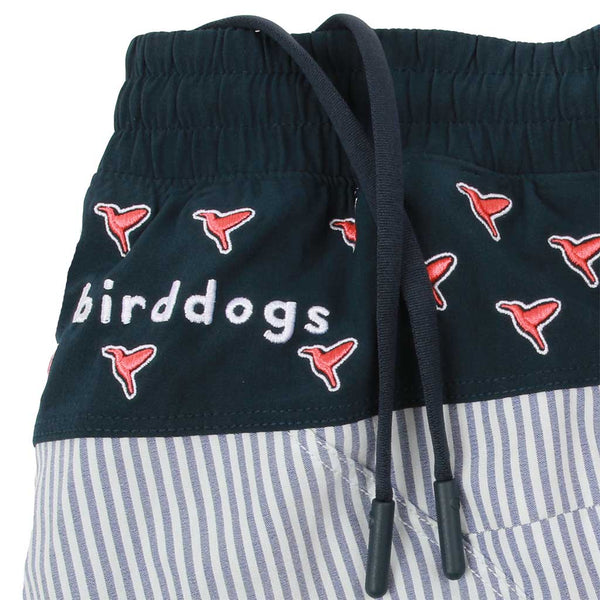 Birddogs Lollygags Blue Seersucker Navy With Birds Embroidery Gym Shorts Navy Liner Waistband