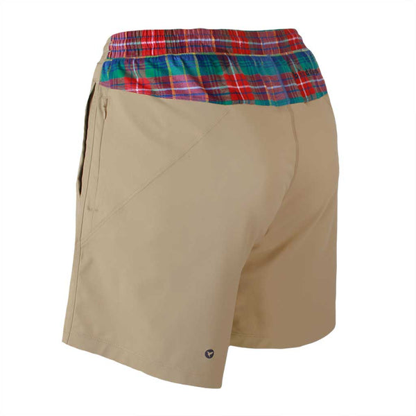 Birddogs Mac Gyvers Khaki Flannel Gym Shorts Navy Liner Back Left Angle