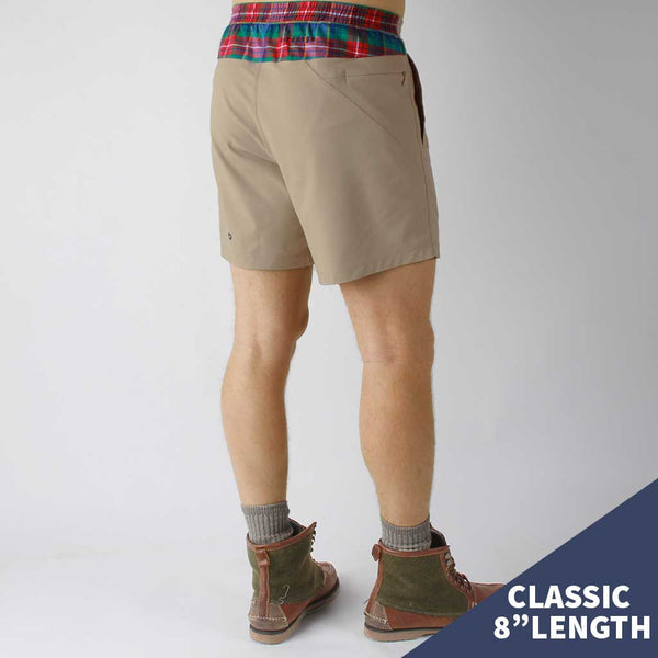 Birddogs Mac Gyvers Khaki Flannel Gym Shorts Navy Liner Model Size Medium Classic 8""