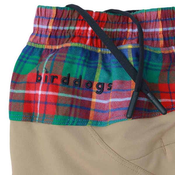 Birddogs Mac Gyvers Khaki Flannel Gym Shorts Navy Liner Waistband
