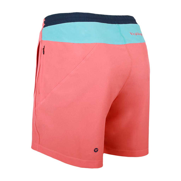 Birddogs Milhouses Coral Orange Light Blue Gym Shorts Navy Liner Back Left Angle