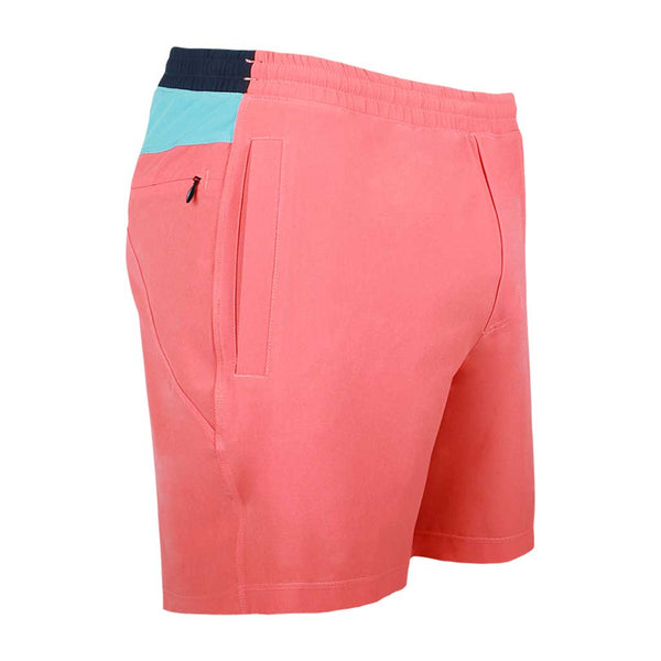 Birddogs Milhouses Coral Orange Light Blue Gym Shorts Navy Liner Front Right Angle