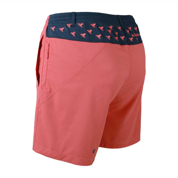 Birddogs Nighttime Teddys Khaki Salmon Navy With Birds Embroidery Gym Shorts Navy Liner Back Left Angle
