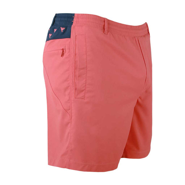 Birddogs Nighttime Teddys Khaki Salmon Navy With Birds Embroidery Gym Shorts Navy Liner Front Right Angle