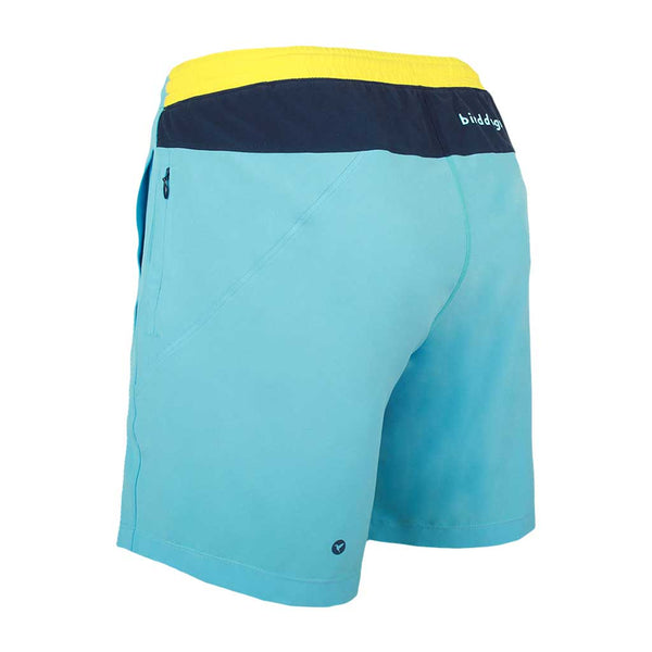 Birddogs Porka Orcas Light Blue Yellow Gym Shorts Navy Liner Back Left Angle
