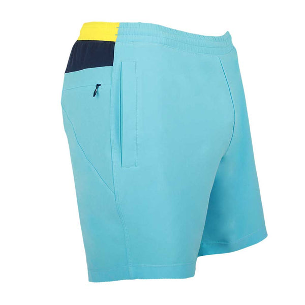 Birddogs Porka Orcas Light Blue Yellow Gym Shorts Navy Liner Front Right Angle