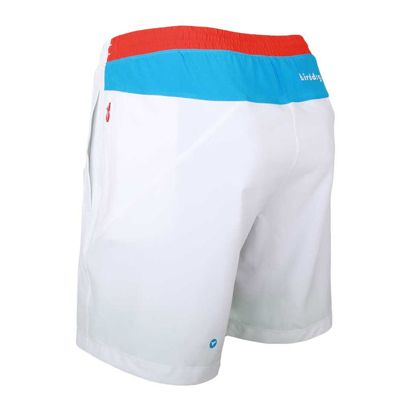 Birddogs Rocket Pops White Blue Red Gym Shorts White Liner Back Left Angle