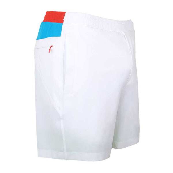 Birddogs Rocket Pops White Blue Red Gym Shorts White Liner Front Right Angle