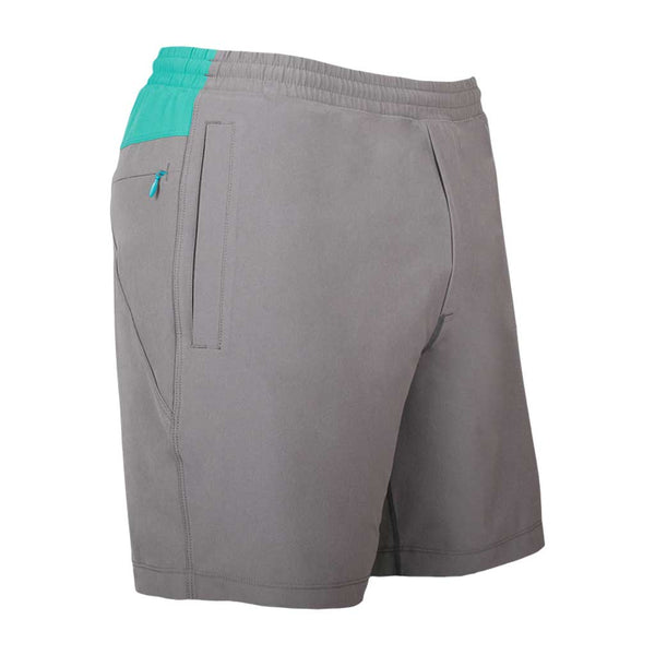 Birddogs Runaround Sues Gray Turquoise Gym Shorts Turquoise Liner Front Right Angle