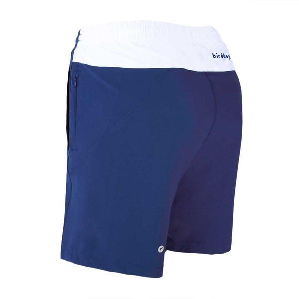 Birddogs Schooners Royal Navy White Gym Shorts Royal Navy Liner Back Left Angle