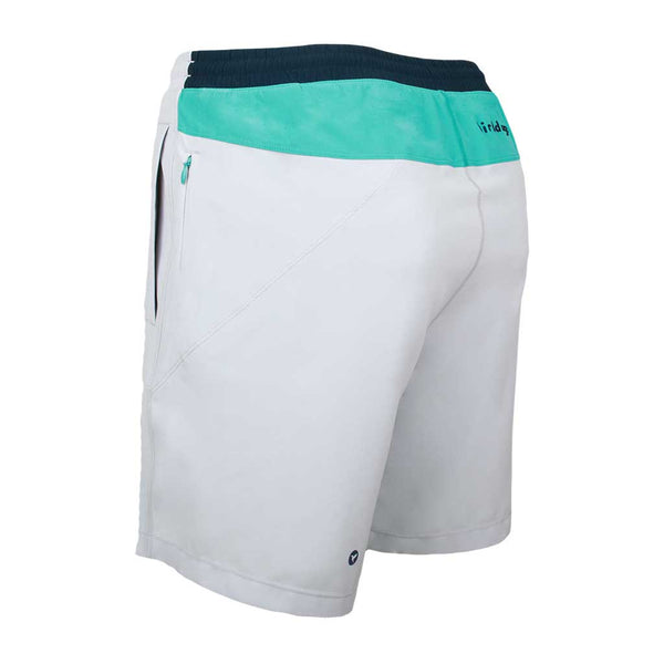 Birddogs SideSaddles Light Gray Turquoise Navy Gym Shorts Turquoise Liner Back Left Angle