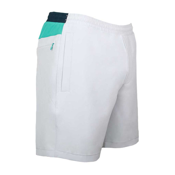 Birddogs SideSaddles Light Gray Turquoise Navy Gym Shorts Turquoise Liner Front Right Angle