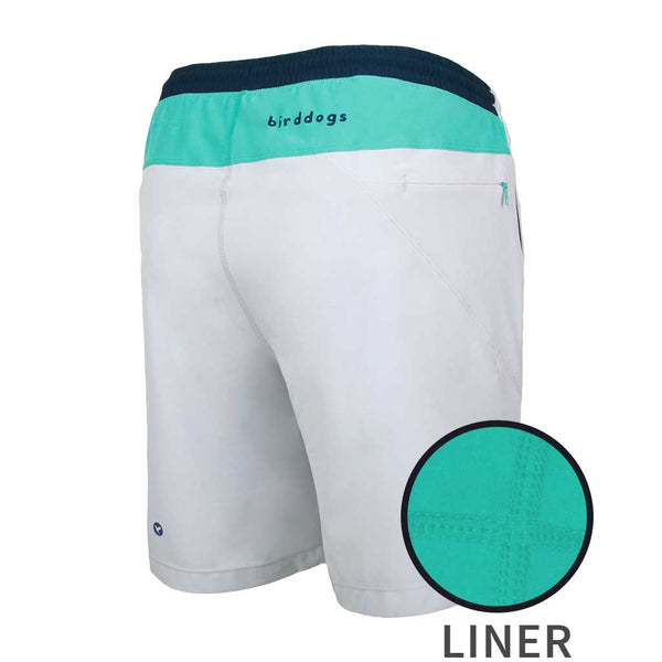 Birddogs SideSaddles Light Gray Turquoise Navy Gym Shorts Turquoise Liner Main