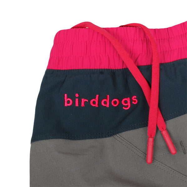 Birddogs Silver Tongues Gray Navy Pink Gym Shorts Pink Liner Waistband
